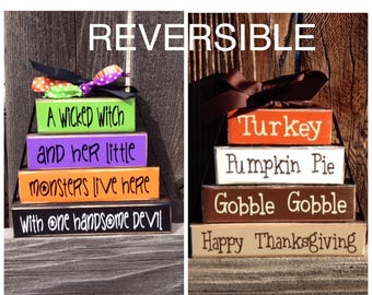 REVERSIBLE--Halloween and Thanksgiving wood blocks--A wicked witch reverses with Turkey, Pumpkin pie, Gobble