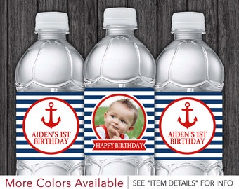 Nautical Water Bottle Labels - Printable Nautical Birthday Party - DIY Digital File