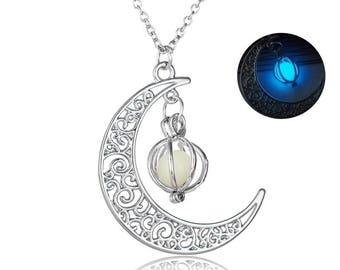 Crescent moon glow in the dark pendant with bead