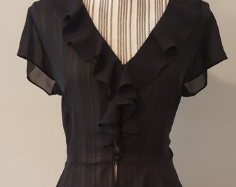 Vintage sheer ruffle blouse, vintage clothing, sheer blouse, steampunk, steampunk style, steampunk clothing, androgynous, victorian style