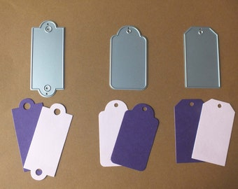 3 Metal Cutting Dies Tags with holes Cards Scrapbooks Gift Tags