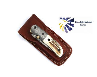 Tanto Damascus Folding Knife / Stag horn Scales by Titan TF-012
