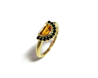 November birthstone ring, Moon engagement ring, Citrine gemstone ring, Unique engagement ring, Half moon ring, Yellow and black Ring.