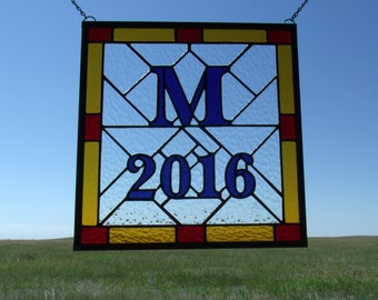 Custom Wedding Gift for Couple, Hand Made in Stained Glass Window Panel, Family Established Signage