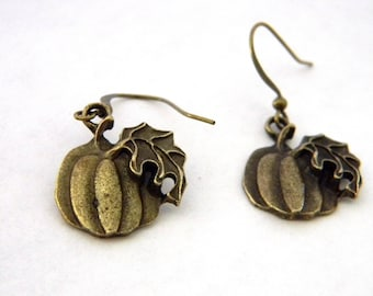 Pumpkin Earrings Antique Bronze Color Dangle Earrings