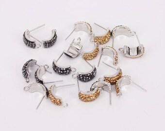 10 Pairs (20 pc) Post Earring with Loop Findings,Paved Rhinestone Stud Earrings,Earring Supplies