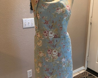 Antique Blue Flower Apron