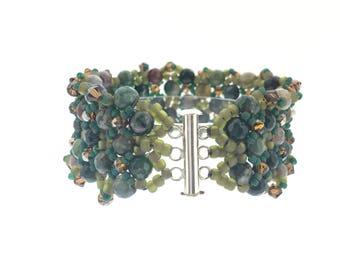 Jasper and Swarovski Crystal Cuff Bracelet