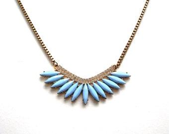 Art Deco ,necklace, bib necklace,blue,vintage