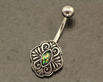 Fire Opal Belly Button Ring. Tribal Belly Jewelry. Silver Boho Navel Piercing. Bohemian Belly Bar. Beach Summer Green Opal Body Jewellery.
