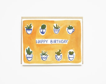 succulent birthday card | illustrated birthday card with cactus art and hand lettering | happy birthday card