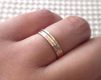 Gold Rings, 14k Gold Filled Stacking 3 Ring Set, Stackable Rings, Minimalist Jewelry, Hammered Rings, Etsy Gift Ideas, Boho Rings, Dainty