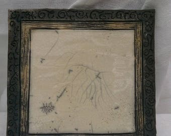 raku ceramic white Crackle and Black diamonds