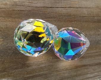 2 (two) Asfour AB German Crystal 30mm Prism Balls, flashy Aurora Borealis finish, Feng Shui, Suncatchers, DIY Glass Crafts