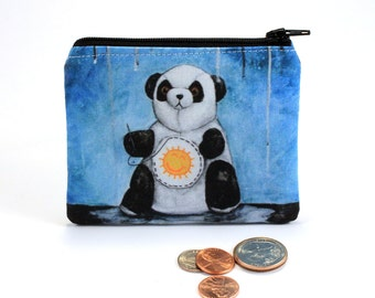 I'll Try Anything - Small Zipper Pouch - Sad Panda Sewing Sunshine on Belly to find Happiness - Art by Marcia Furman