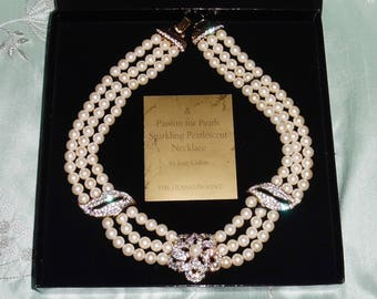 """NEW A Passion for Pearls 18"""" Necklace, 3 strand White Pearls and White Sapphires, gold clasp and accents in Box, COA"""