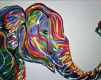 "Asian Elephant 16x24"" Original Painting"