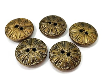 Antique Gold Metal Buttons - 5 Sew Through 5/8 inch 15mm for Sewing Notions Knitting Jewelry Supplies Beads Steampunk