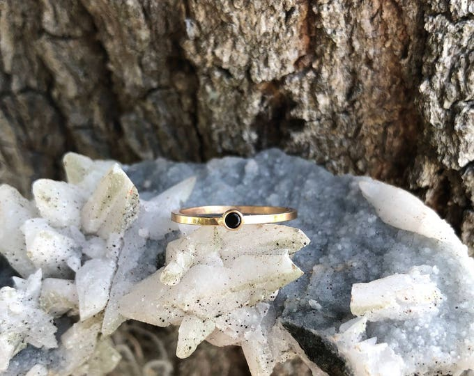 Black Onyx Gemring, 14k gold filled, solud gold, minimal stacking ring