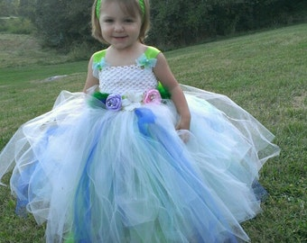 Flower girl tulle dress, pagent dress, flower girl dress, birthday tulle dress