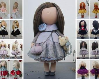 Nursery doll Tilda doll Textile doll Handmade doll Violet doll Fabric doll Rag doll Art doll Baby doll Unique doll Soft doll by Margarita