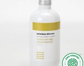 Organic Shampoo - Natural Shampoo - 250ml - Hair Loving Cypress and Sage Essential Oils - Added  Pro-Vitamin B5 and Pre-Biotic - Vegan