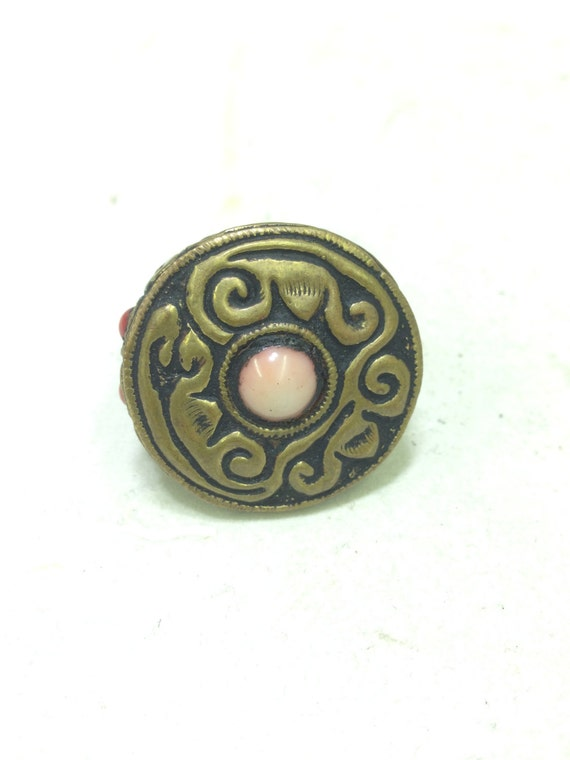 Rings Tibetan  Etched Brass Coral Round Ring  Handmade Ring Floral Brass Jewelry  pink Coral Unique Fun Ring