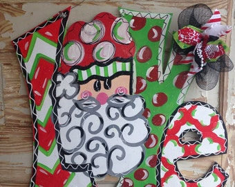 Christmas Door Hanger - Santa Door Hanger - Holiday Door Decor - Christmas Decorations - Holiday Decor - Christmas Wreath - Christmas Gift