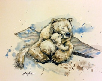 "Original Water Color Painting, Polar Bears Family, 8""x10"" with mat, 17010506"