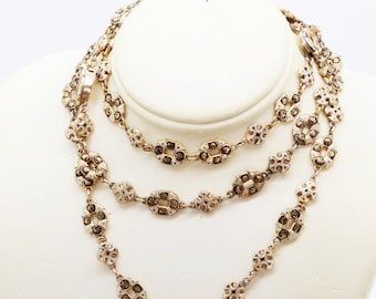 Antique Neo Renaissance Victorian Long Chain Necklace 14k Gold Enamel (#6109)