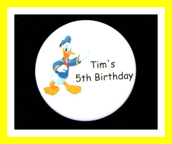 Birthday Party Favor Personalized Button, Duck Pin Favor,School Favor,Kid Party Favor,Boy Birthday,Girl BirthdayPin,Favor Tag Set of 10