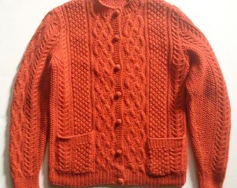 Vintage Orange Wool Fisherman Cardigan Rare