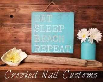 Beach Life | Beach | Nautical | Ocean Theme | Wooden Signs | Ocean | Lake | Beach Signs | Eat Sleep Beach Repeat | Beach Inspired