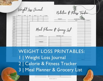 Weight Loss Printables: Meal Planner, Calorie and Fitness Tracker, and Weight Loss Journal