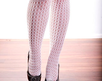 Vintage High Quality White Holes and Striped Nylon Stockings Tights Size 12