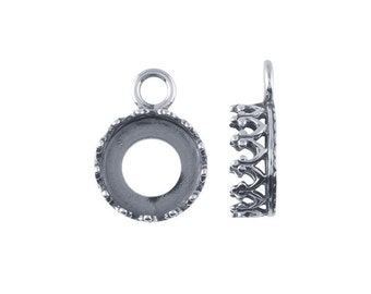 Sterling Silver Oxidized Round Gallery Wire Bezel Pendant Mounting