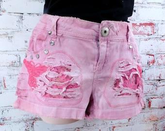 destroyed shorts - ripped trashed shorts - pink dyed shorts - studded upcycled shorts -  grunge shorts - size 9 shorts -  # 32