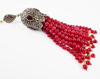 Large Long Red Jade Stone Beaded Tassel with Red Clear Crystal Accents - Antique Bronze - 1PC