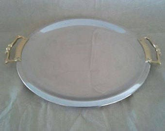 Vintage Kromex round two handle tray, platter 15 1/2""
