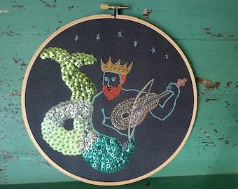 Merman Hoop Art - Embroidered Merman - Mexican Folk Art Inspired - Haitian Folk Art Inspired - Merman Wall Art - Unusual Embroidery