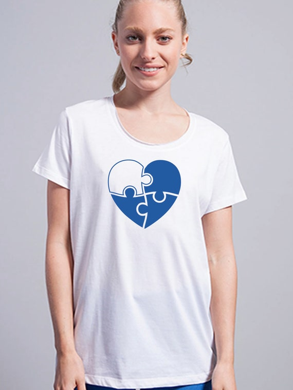 Round neck women t-shirt PUZZLE HEART