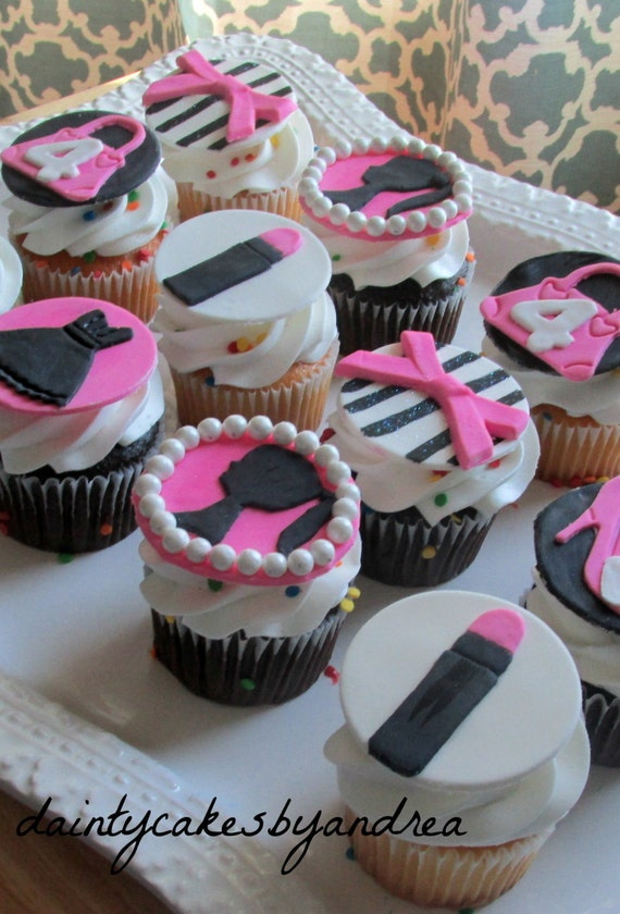 Items Similar To 12 Barbie Glam Inspired Fondant Cupcake