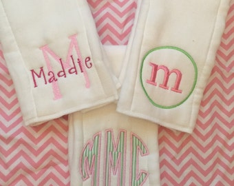 Set of 3 Monogrammed Burp Cloths