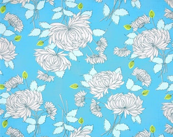 Belle Chrysanthemum in Blue fabric by Amy Butler