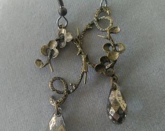 Antiqued Brass Floral and Swarovski Crystal Briolette Earrings