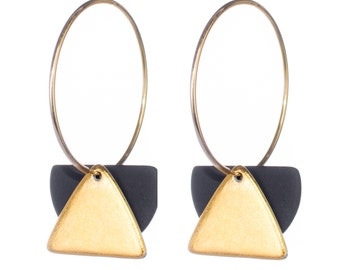 Ceramic hoop earrings with gold - made in France - porcelain jewelry