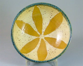 Pottery Soup, Salad, or Serving Bowl - Glossy Teal Blue, Speckled Yellow and Gold Flower / Wheel-thrown Pottery Bowl