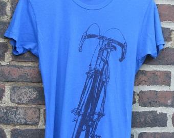 Classic Road Women's Bike T - Blue - Indigo on Navy - Bike Bicycle Art Print Tee - All Sizes!!
