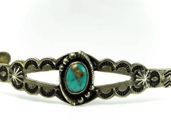 """1930s 40s Sterling Silver Turquoise Etched Cuff Bracelet 14mm 5.25"""""""