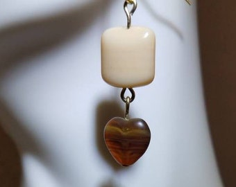 Cream and Brown Beaded Heart Earrings